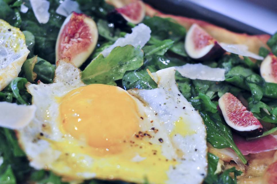 Three Minute Eggs over Arugula, Pesto Pizza