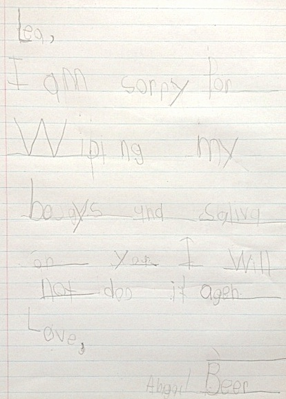 Preschool apology note