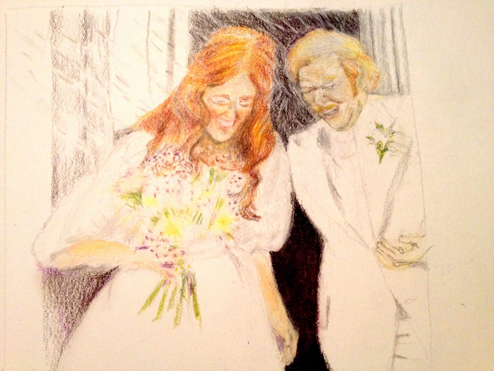 Parents Wedding Day Portrait, Prismacolor Pencil by Stephanie Klein