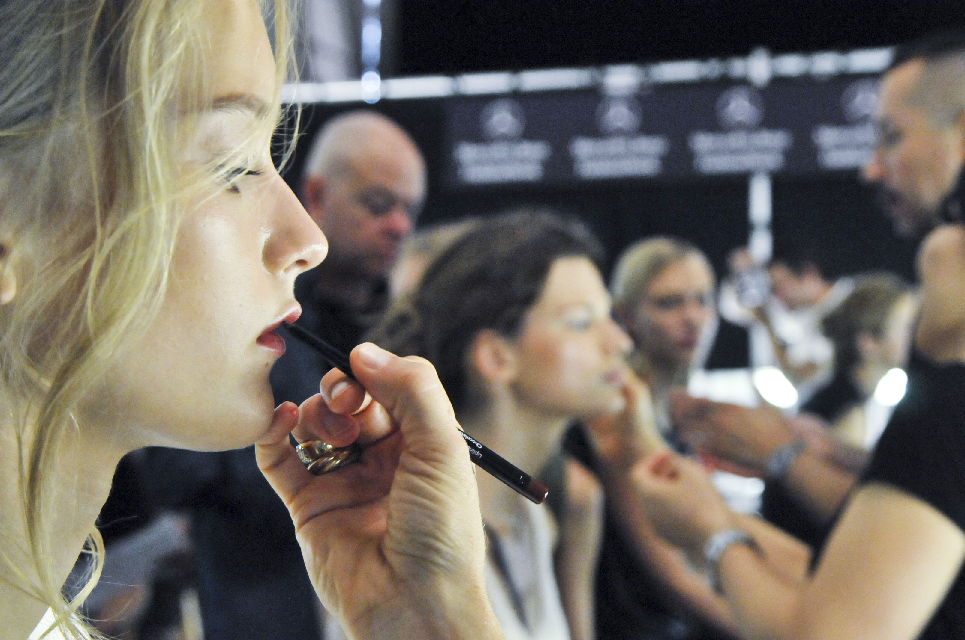Get the look! Gucci Westman for Revlon, backstage with model at J. MENDEL S/S 2014