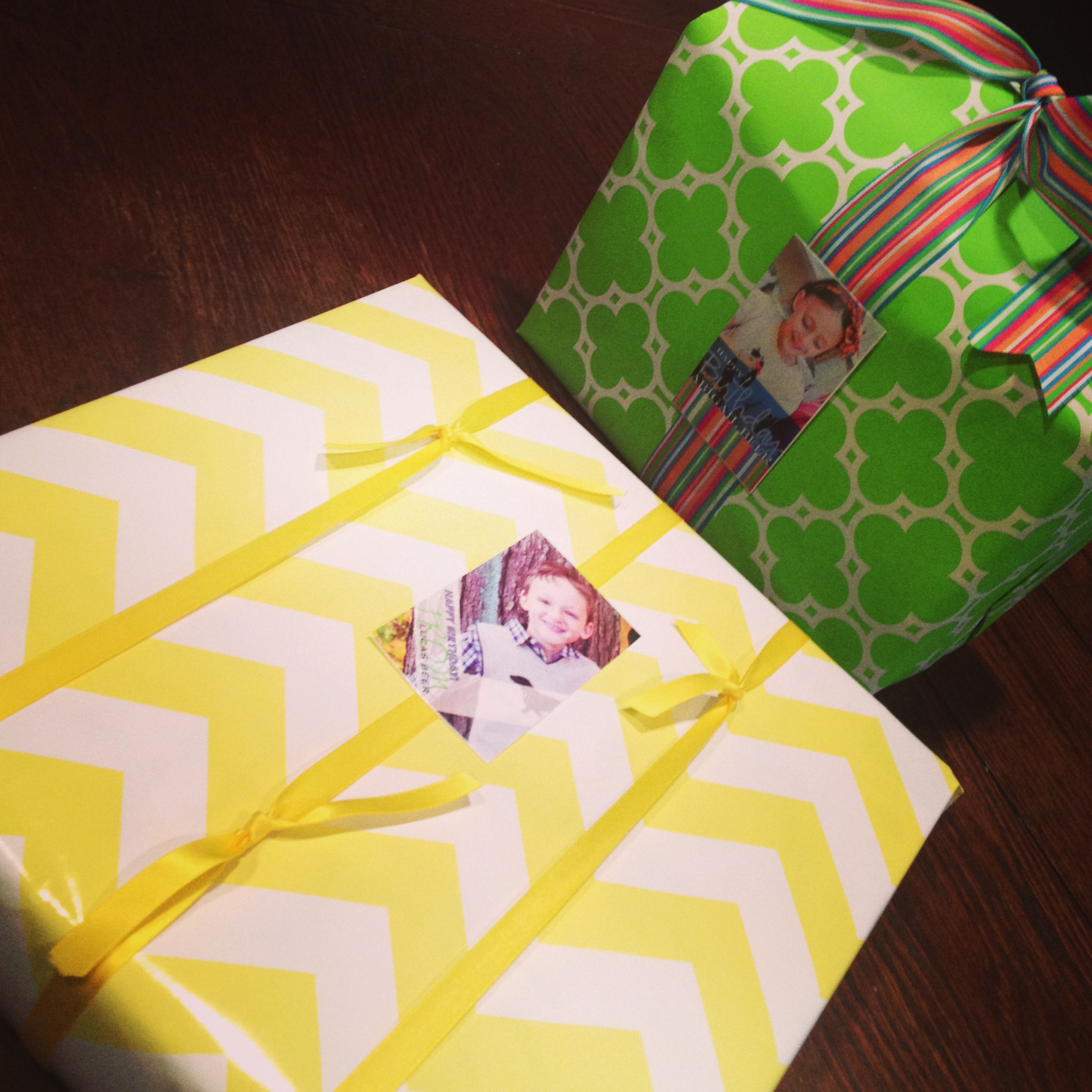 Pre-wrapped gifts, complete with personalized photo gift tags