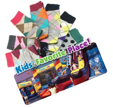 Gift socks and stuff with coupons to local bounce house!