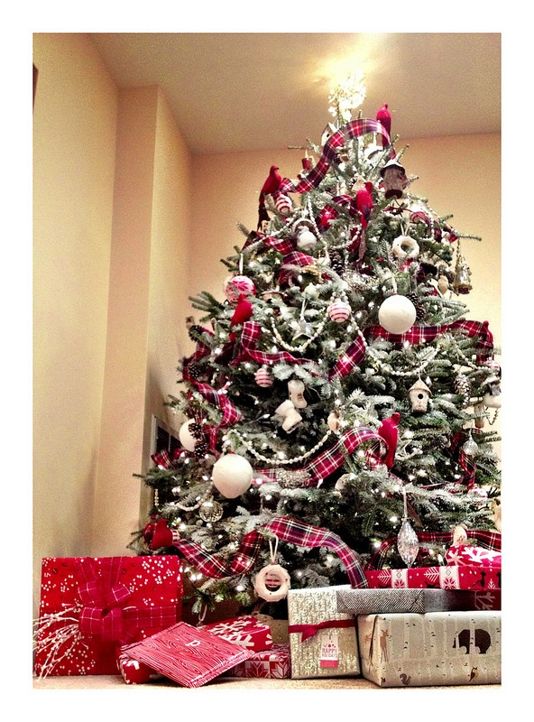 Flocked white Christmas Tree with red tartan and plaids, Cardinal Love