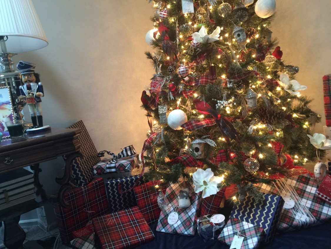 red, white, and plaid christmas