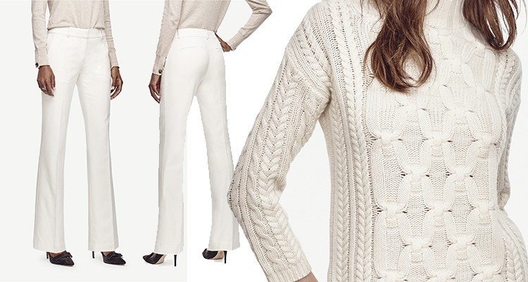 Ivory trousers, Braided Cashmere. #whiteonwhite #holiday #luxury