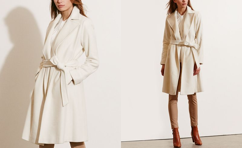 Ivory cream coat, bathrobe style, Ralph Lauren Winter